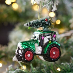 Festive Green Tractor With Tree Bauble