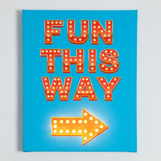 'Fun This Way' Illuminated Canvas