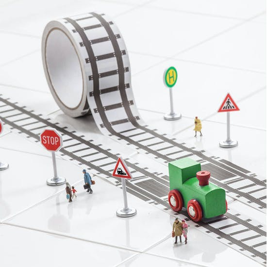 Fun Train Track Tape & Train Set