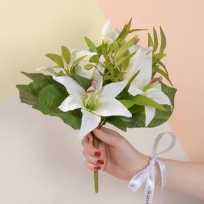 Faux Tiger Lilies with Personalised Ribbon
