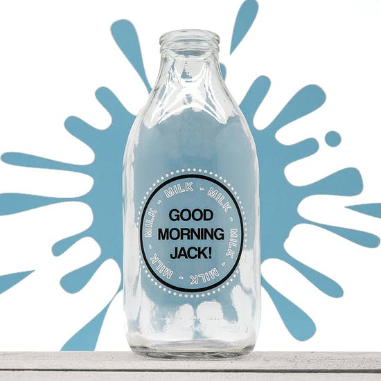 ' Good Morning ' Milk Bottle And Straw