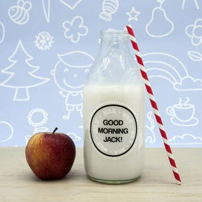 'Good Morning' Milk Bottle And Straw