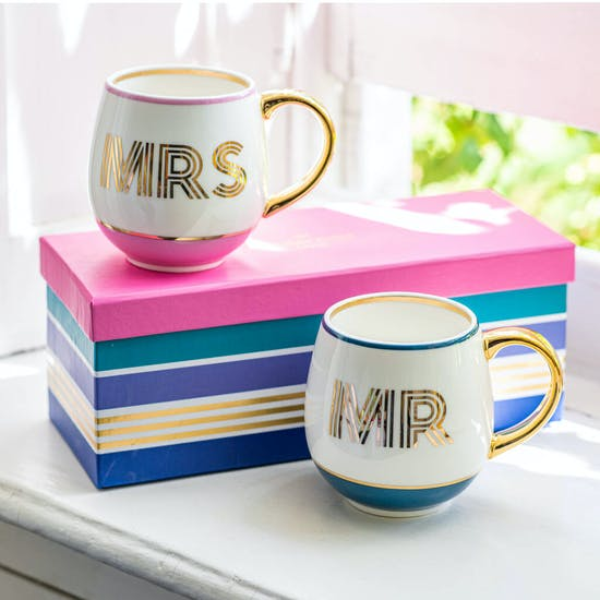 Gift Boxed Pair Of Mr And Mrs Mugs