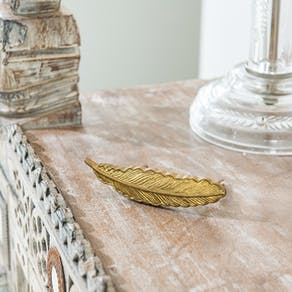 Gold Feather Vintage Style Drawer Knob
