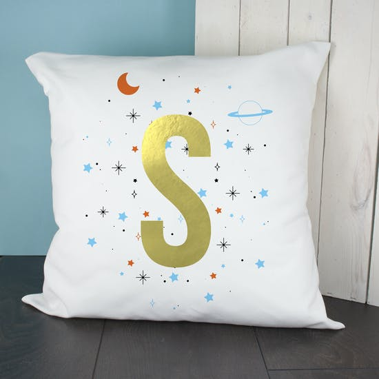 Gold Letter Space Cushion Cover