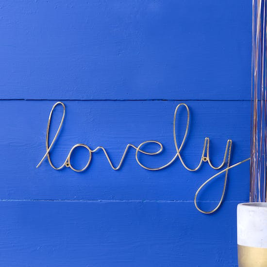 Gold Script Wire ' Lovely' Word