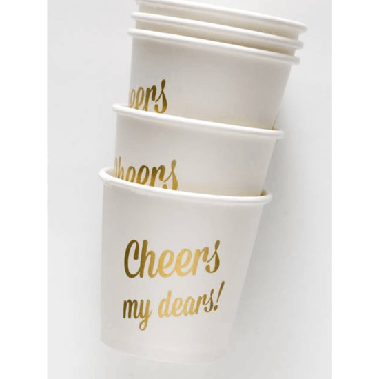 Set Of 12 Gold Shot Paper Cups