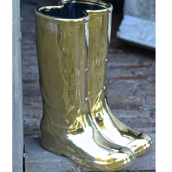 Gold Wellington Boots Porcelain Umbrella Stand