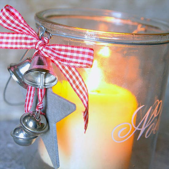Glass Etched Christmas Candle Holder