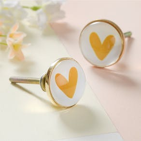 Glass Heart Drawer Knobs