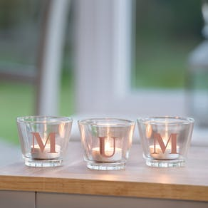 Alphabet Glass Votive