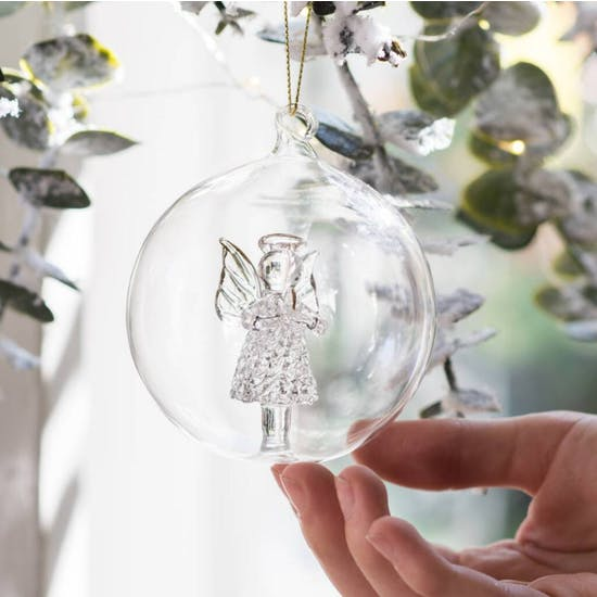 Glass Remembrance Angel Bauble