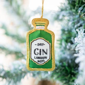 Gin Bottle Embroidered Christmas Decoration