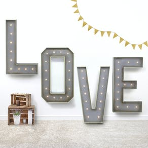 Giant 'LOVE' Light Up Metal Letters