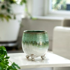 Green Hand Dipped Planter On Legs