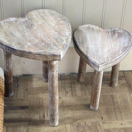 Pair Of Heart Shape Tables / Stools