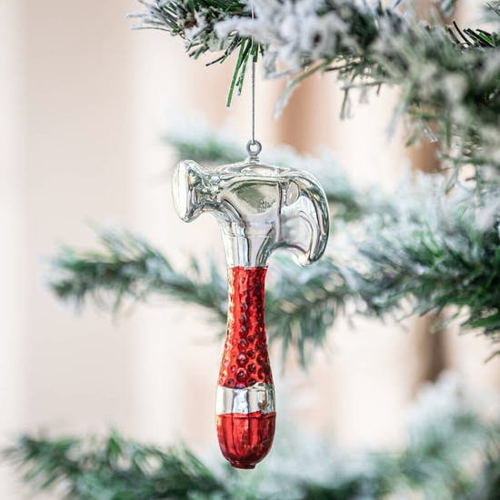 Red And Silver Hammer Shaped Bauble