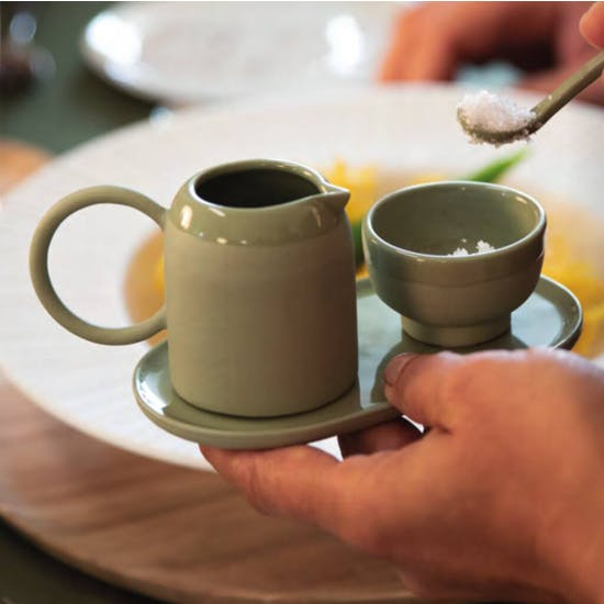 Hand Crafted Green Stoneware Condiment Set