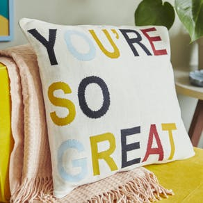 Hand Knitted Slogan Cushion