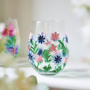 Hand Painted Flower Glass Tumblers