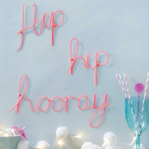 Hip Hip Hooray Pink Wire Wording