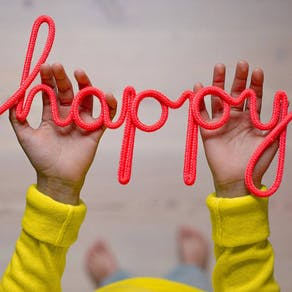 Happy Rope Word In Fuchsia
