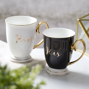 His and Hers China Monochrome Mugs