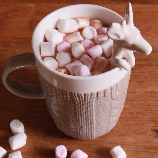 Knitted Effect Ceramic Mug And Deer Spoon Set