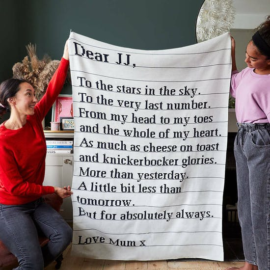 Knitted How Much I Love You Blanket
