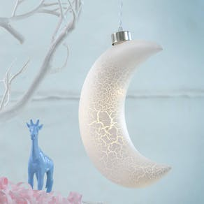 LED Crackle Half Moon Bauble