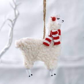 Woolly Llama Christmas Decoration