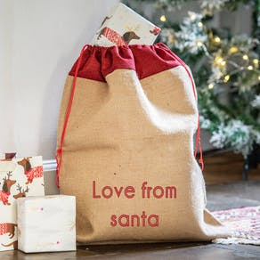 Large Personalised Christmas Hessian Sack