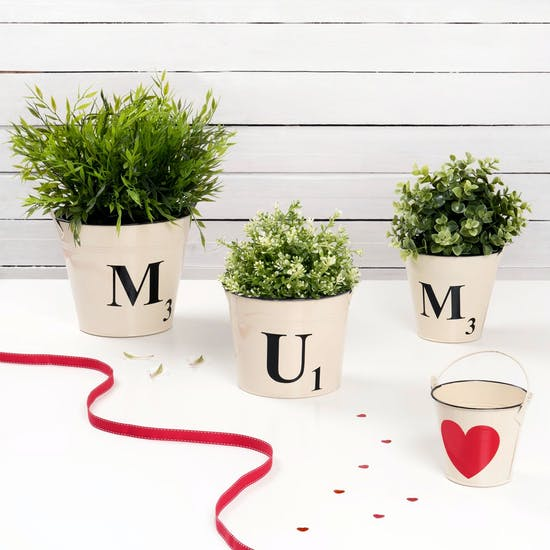 Scrabble Style Buckets spelling out 'Mum'