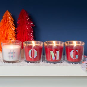 Glass Letter Scented Red Candle