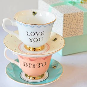 Love You And Ditto Tea Cup And Saucer Set