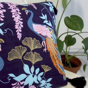 Luxe Embroidered Peacock Cushion