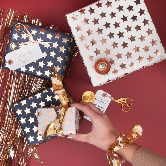 Luxury Foil Star Christmas Wrapping Paper