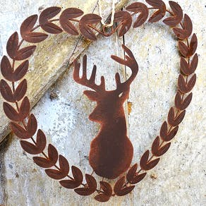 Metal Stags Head Wreath