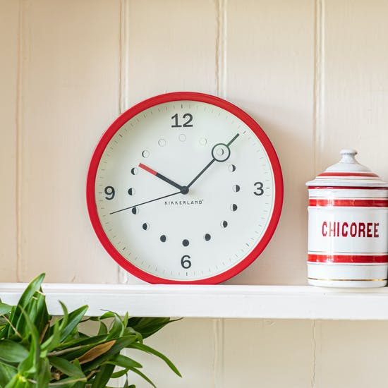 Moon Phase Red Clock