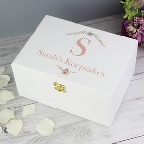Monogram Floral White Wooden Keepsake Box