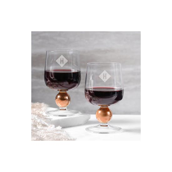 Monogrammed LSA Rose Gold Wine Glasses