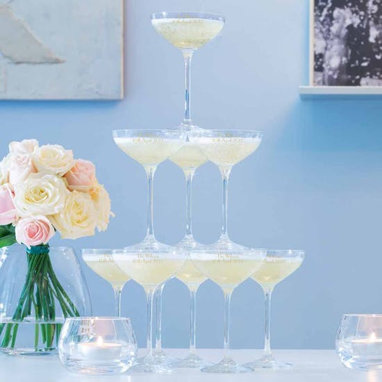 Ten Personalised LSA Champagne Stack Glasses