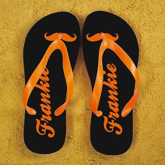 Moustache Style Personalised Flip Flops