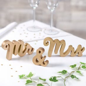 Mr & Mrs Gold Typographic Words
