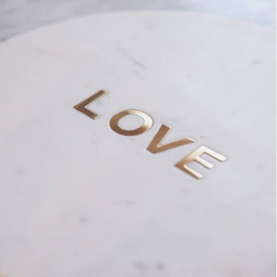 Marble Serving Board With Gold Word Inlay
