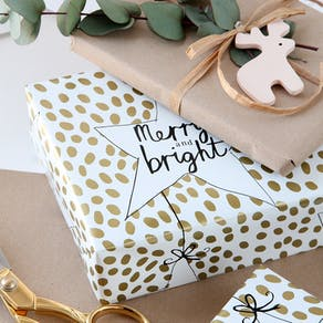 Merry And Bright Christmas Gift Paper