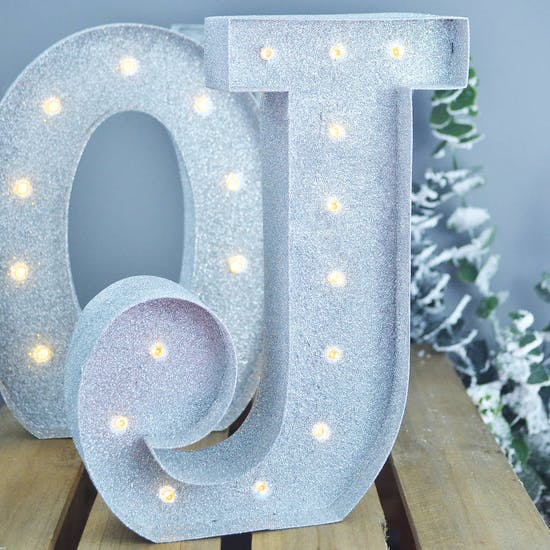 Metal Glitter Light Up Letters