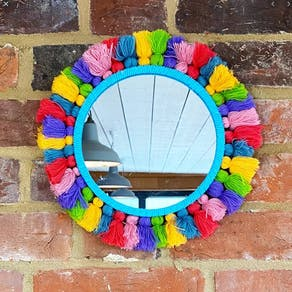 Mexican Styled Bright Tassled Mirror