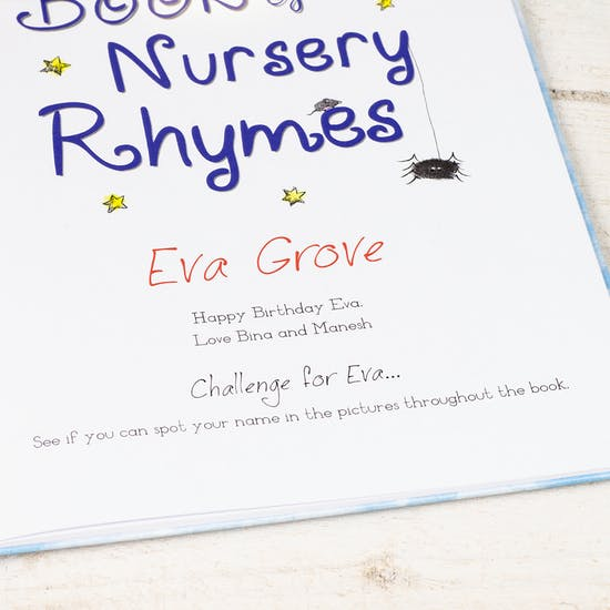 Personalised Name Book Of Nursery Rhymes