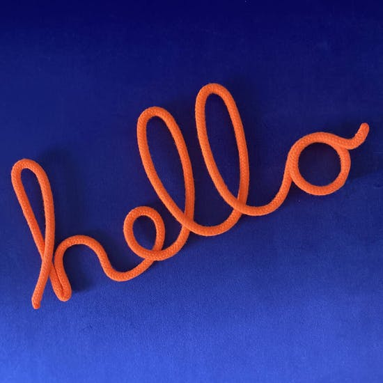 Neon Coral Soft Wall Hanging Word Hello
